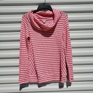 Sonoma pink/white striped soft cowl neck sweater